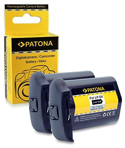 2x Batteria LP-E4 / LP-E4N Per Canon EOS 1D C, 1D Mark III, 1D Mark IV, 1DX, 1Ds Mark III (Per 1DX Senza Indicazione Del Tempo Residuo)