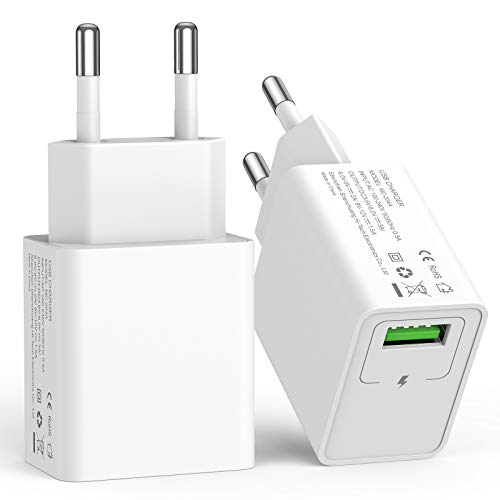 SCHITEC USB Ladegerät Netzteil Stecker 2 Pack 18W Quick Charge 3.0 Schnellladegerät USB Ladestecker Kompatible mit Galaxy S20 S21 Plus Ultra S10 S9 S8 A50 A42 Redmi Note 8 Pro Huawei P30 usw.