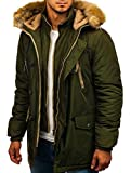 BOLF Hombre Chaqueta de Invierno Parka con Capucha Cierre de Cremallera Estilo Casual J.Boyz 1045 Verde L [4D4]