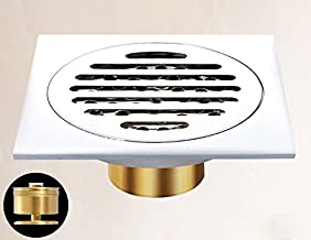 LANGPAI Drainer Square Shower Floor Drain with Removable Strainer Tile-In Design Shallow Chrome 4x4 Inch