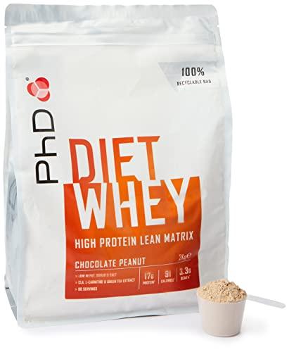 PhD Proteína de Suero Nutricional para Dieta en Polvo Bajo en Calorías, Sustituto de Comidas Rico en Proteínas Bajo en Azúcar con Fibra para Adelgazamiento, Sabor Chocolate y Cacahuete (2kg)