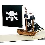 Tarjeta de cumpleaños por ejemplo para niños, tarjeta de felicitación con barco pirata, tarjeta de invitación para cumpleaños infantiles, tarjeta de cumpleaños, para niños, regalo u obsequio, B15