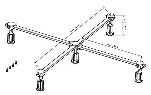 poresta Ferroplast Duschwannenfuß D5 Mini XL Wannenfüße 75-100 cm für Stahl Acryl Duschwanne superflach
