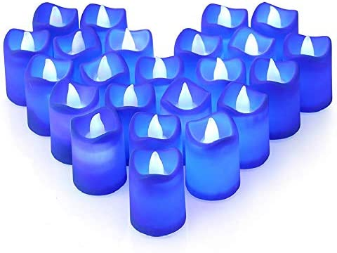 LITAKE Blue LED Candles Flameless Flickering Blue LED Tea Lights Battery Operated Realistic product image