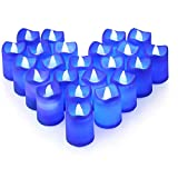 Litake Blue Light Candles, Romantic LED Blue Candles 24 Packs, Flameless Blue Tea Lights, Flickering Navy Blue Led Votive Candles for Birthday Wedding Party Christmas Valentine Halloween Decor