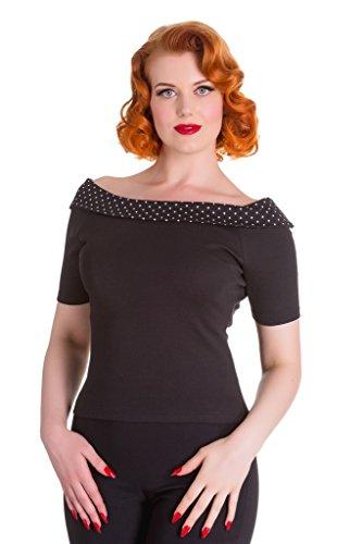 Blusa Top Bardot de Lunares sin tirantes al estilo de los 50's Hell Bunny Chloe - Negro & Negro (XS - ES 36)