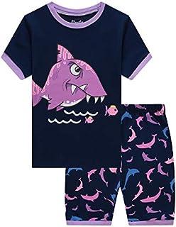 Slenily Pajamas for Boys Children Summer Pjs Shorts Kids Cotton Dinosaurs Sleepwear Set