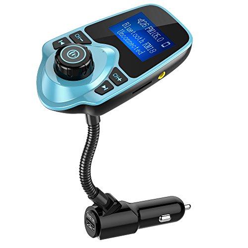 Nulaxy Bluetooth Car FM Transmitter Audio Adapter Receiver Wireless Handsfree Voltmeter Car Kit TF Card AUX 1.44 Display – KM18 Mint Green