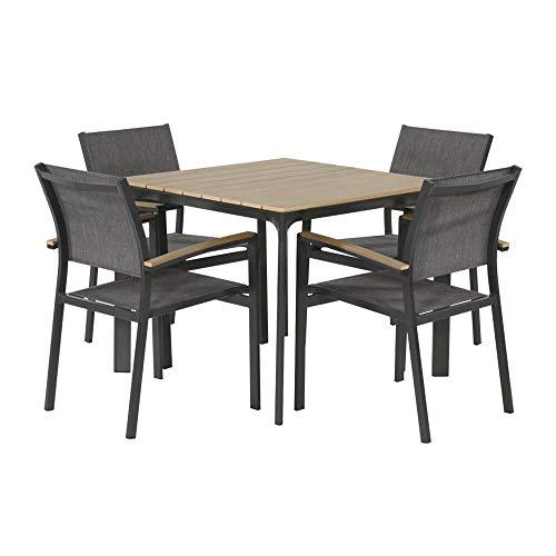 Juego de muebles de jardín para 4 personas con mesa de 90 cm – comedor Turín