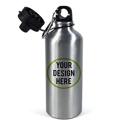 Gifty Lab Edelstahl Trinkflasche Bedrucken, Trinkflasche mit Karabiner und zusätzlicher Kappe, Silver, 600ml