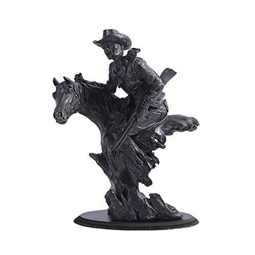 ZAQWSXCDE Adorno Escultura Arte Artesanía Escultura De La Suerte Figura Escultura Decorativa Western Cowboy Riding Statue Manualidades Adornos De Decoración del Hogar