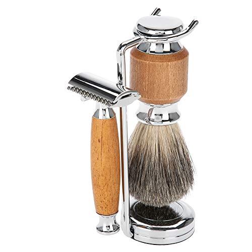 Kit de afeitado de 4 piezas, juego de maquinilla de afeitar manual para hombres, juego de afeitado para hombres, juego de afeitado para hombres, cepillo para barba + maquinillas de afeitar + soporte d