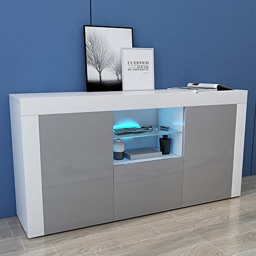 Paddie Sideboard Living Room Cupboard with LED Lights Front High Gloss Modern Living Room Furniture (Grey)