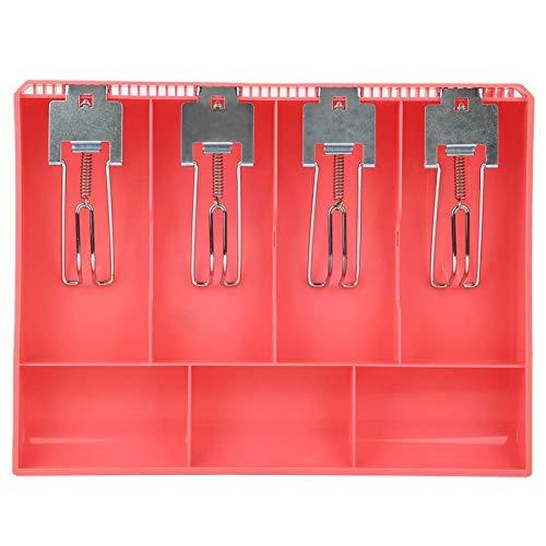 Cajón de efectivo, bandeja de inserción de registro, caja de cuatro cajas de repuesto de ABS con clip metálico para billetes y monedas(rosado)