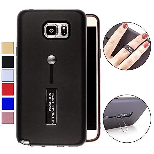COOVY® Cover für Samsung Galaxy Note 5 SM-N920 / SM-920F Bumper Case, Doppelschicht aus Plastik + TPU-Silikon mit Halteschlaufe, Standfunktion | Farbe schwarz
