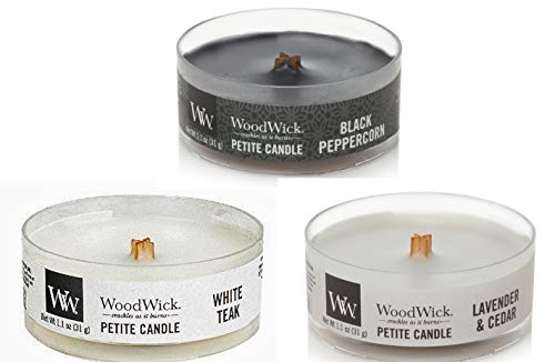 WoodWick Mountain Air Petite Candle Bundle - 3 Items: Black Peppercorn, Lavender & Cedar, and White Teak Petite 1.1 oz Candles