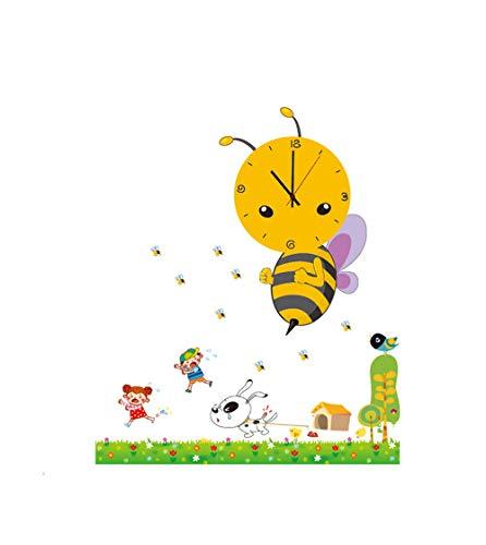 YAOJU Uhren fürs Kinderzimmer, Kinder Wanduhr Wanddekoration Uhren fürs Kinderzimmer,Uhr ohne Tickgeräusche,KInderzimmer mit Wandtattoo - Kleine Biene