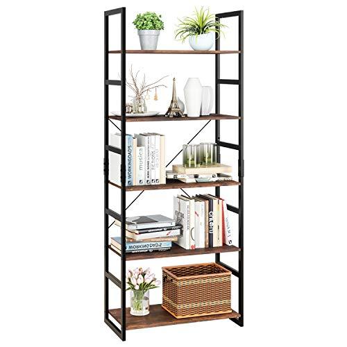 Homfa Bookshelf Rack 5 Tier Vint...