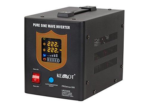 Notstromversorgung KEMOT PROsinus-500 URZ3405B Wechselrichter reiner Sinus Ladefunktion 12V 230V 800VA/500W, schwarz