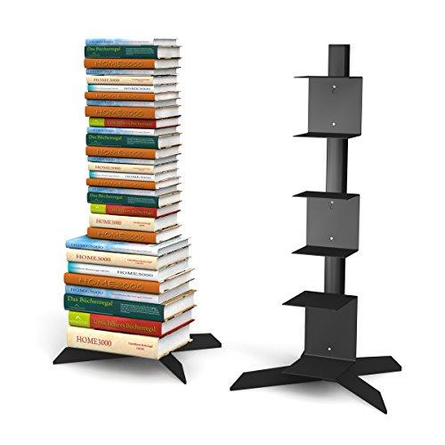 home3000 Freistehendes Bücherregal mit 2 kleinen und 1 grossen Regal in schwarz für ca. 115 cm Büchersäule