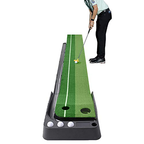 I&K PRO Indoor Golf Putting Mat - Adjustable Hole and Automatic Ball Return Mini Golfing Green - Alignment and Distance Mini Practice Training Aid for Home, Office, Outdoor Use - 8.2 x 1.28 Feet