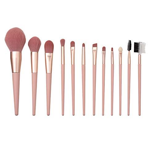 Ensemble De Pinceaux De Maquillage, Outils De Beauté De Cheveux Doux Blush Sac De Brosse De Poudre D'ombre à Paupières, Rose Nu 12 Pièces
