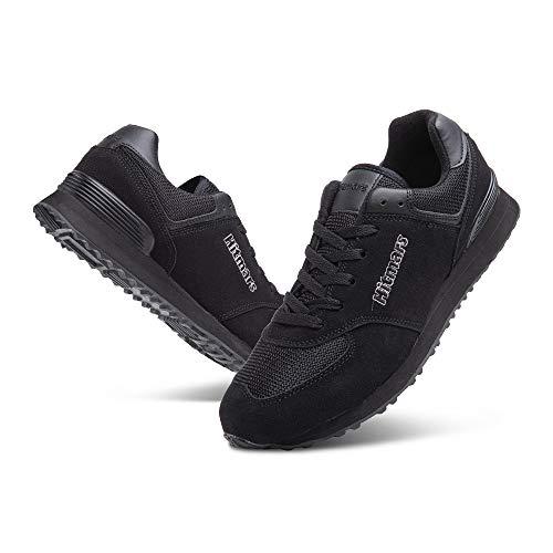 Zapatillas Hombre Mujer Casual Sneaker Gimnasio Cómodos Clásico Zapatos Deportivas Running Todo-Negro 1 Talla 43
