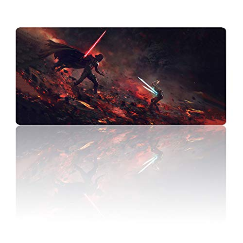 Extra Large Gaming Mouse Pad Ahsoka-Tano Vs Darth-Vader,Mousepad with Anti-Skid Rubber Base & Stitched Edges Frame,Huge Laptop Desk Pad,Computer Keyboard and Mice Combo Pads Mouse Mat 35.4X15.7 Inch