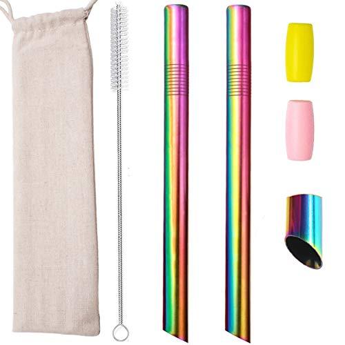 Pajitas reutilizables Boba metal acero inoxidable con puntas en ángulo 12mm ancho batidos té burbujas tapioca perla con puntas silicona bolsa cepillo limpieza, 2 piezas de 25.5 cm