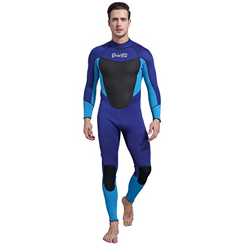 Mens Wetsuits 3/2mm Neoprene Full Suit- Thermal Swim Suit Back Zip Long Sleeve for Diving Surfing Snorkeling, SW025 (Navy, 3XL)