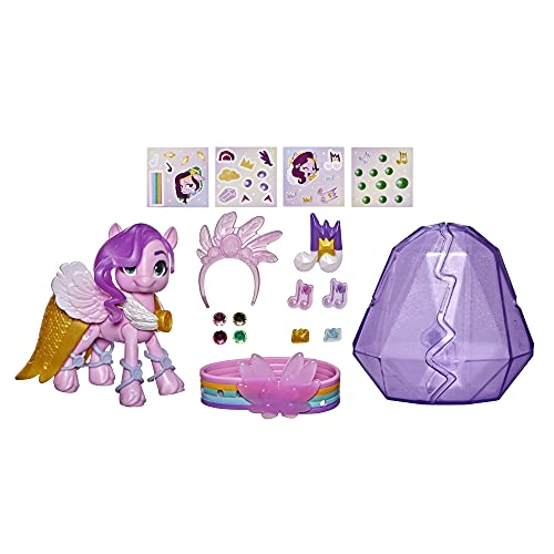My Little Pony: A New Generation Kristall-Abenteuer Princess Petals, 7,5 cm großes pinkfarbenes Pony, Accessoires, Freundschaftsarmband
