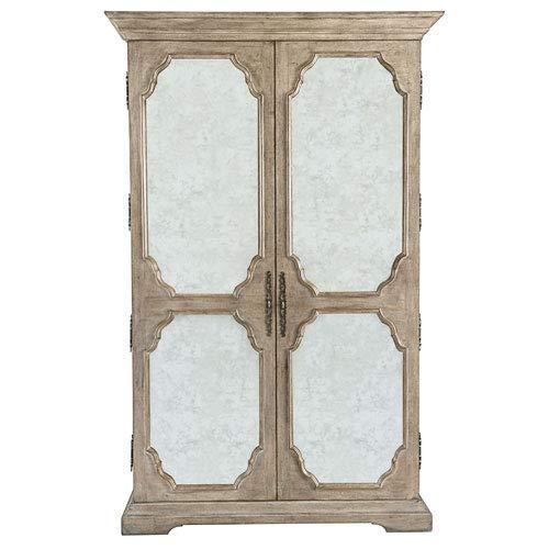Bernhardt Campania Weathered Sand White Oak Veneers and Mirrored Glass Armoire