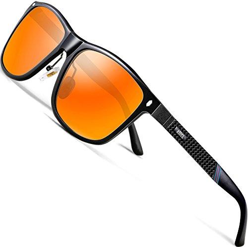 ATTCL Herren Polarisierte Sonnenbrille Al-Mg Metall Rahme Ultra Leicht 7001 Red