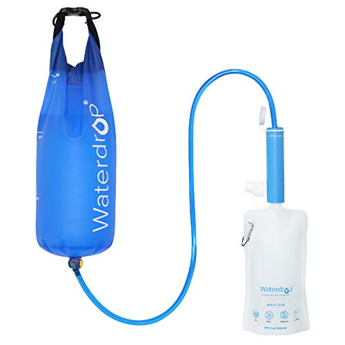 Waterdrop Personal Water Filter Straw with Gravity Water Bag, Portable Camping Filtration System, Drinking Water Purifier for Emergency Hiking Travel Backpacking