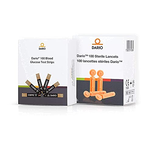 Dario Test Strips and Lancets Bundle Set (100 of Each) for...