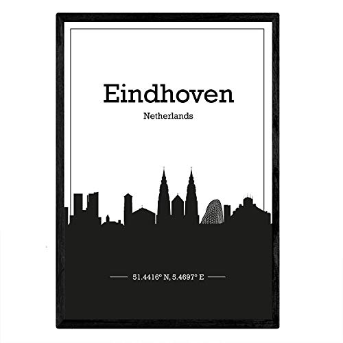 Nacnic Poster con Mapa de Eindhoven - Holanda. Láminas con Skyline de Ciudades de Europa con Sombra Negra. Tamaño A4