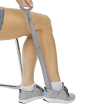 Vive Long Handled Shoe Horn  23 Inch  - Plastic Shoehorn for Men Women and Kids - Adjustable Extended Reach Assist - Large Dressing Aid Sock Remover for Seniors Elderly Disabled - Longhandled Tool