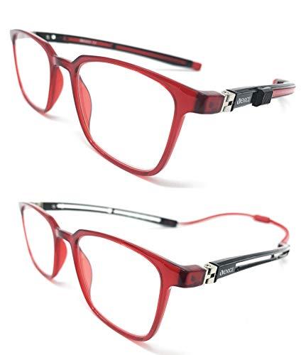 New Model 2021 TR90 EXTENSIBLE Gafas de lectura. IMAN extensible unisex Venice, para labores que requieran mayor esfuerzo visual como electricidad, bricolaje, costura. (Rojo, 1.50)
