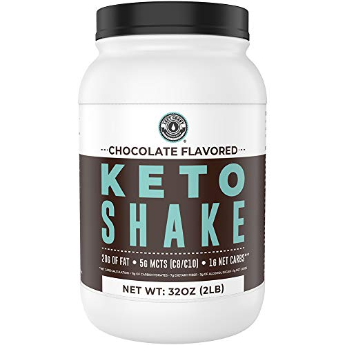 Keto Meal Replacement Shakes, Chocolate, 2lbs, Low Carb Keto Protein Shake Mix, MCT Powder, Grass Fed Hydrolyzed Collagen Peptides, Keto Breakfast Shake, 20g Fat, 14g Protein, 1 Net Carb, Zero Sugar