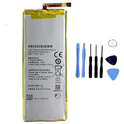 Ellenne Batería compatible con Huawei Ascend P7 HB3543B4EBW de alta capacidad 2530 mAh con kit de montaje incluido