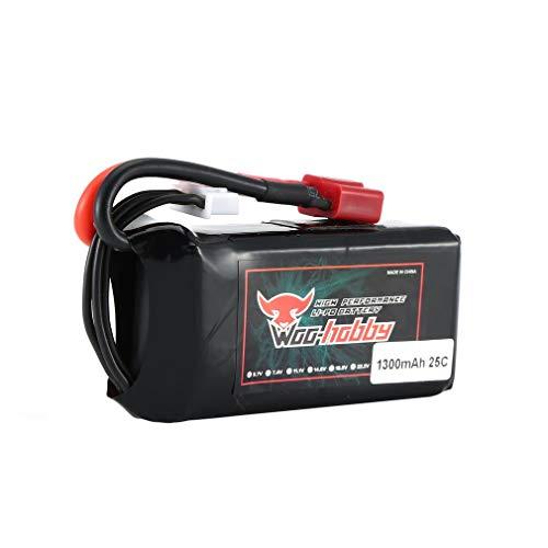 Woo-Hobby RC LiPo Batería 3S 11.1V 1300mAh 25C Batería Recargable con Enchufe T para RC Avión Drone Barco Accesorios (Amarillo)