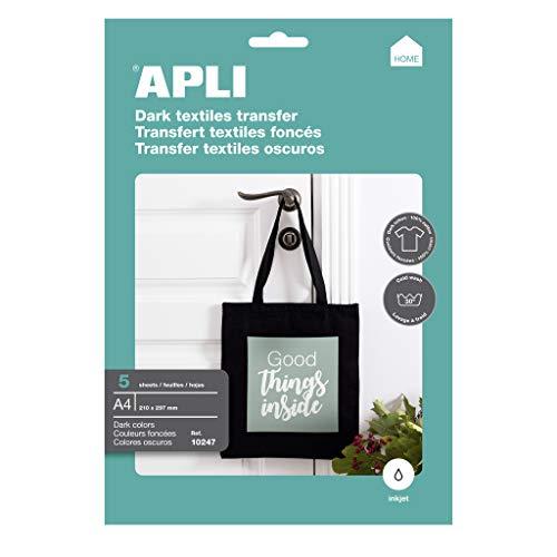 APLI 10247 - Bolsa con 5 Hojas de Papel de Transferencia Térmica para textiles oscuros