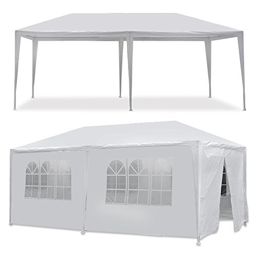 Boylymia 10' x 20'Outdoor White Waterproof Gazebo Canopy Tent with 4 Removable Sidewalls and Windows Heavy Duty Tent for Party Wedding Events Beach BBQ