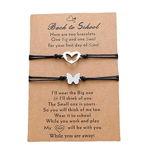 PUNELE 2 pulseras de la amistad, parejas, pulseras de tela con colgante de corazón de mariposa, de acero inoxidable, para San Valentín, bodas, día de la madre, año nuevo