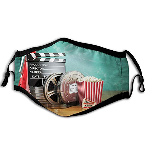Reusable Face Shield Mouth Scraf Movie Theater,Production Theme 3D Film Reels Clapperboard Tickets Popcorn and Megaphone,Multicolor decorations for Unisex adults