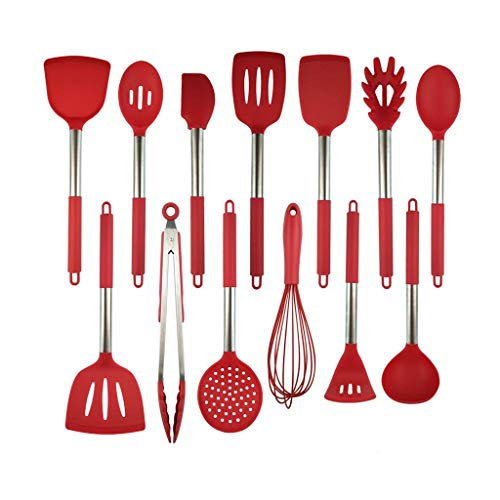 treqa GYDCJ Kitchen Set 13-Pcs Stainless Steel Handle Cooking Tools Set Silicone Kitchen Utensil Set with Large Spoon Spatula Kitchenware (Color : A)