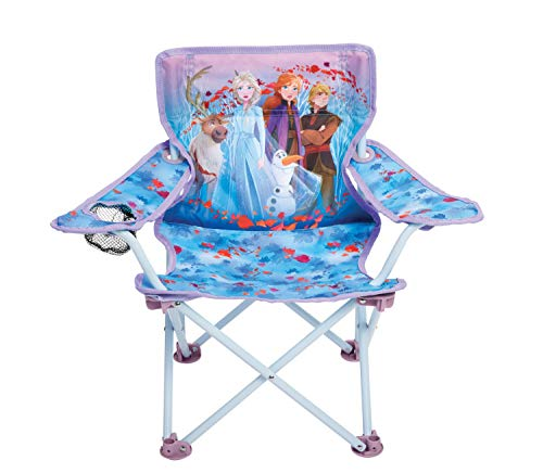 Foldable Camp Chair Frozen 2 Fold N Go Chair Sturdy Metal Construction (Easy To Open, Handy Cup Holder, Cleanable Materials, Carrying Bag) For Kids Ages 3+