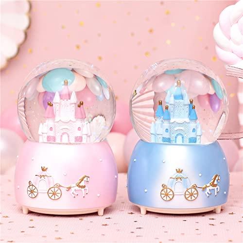 HLONGG Contenitore di Neve di Cristallo delle scatole di Musica di 2pcs Rotating Box di Cristallo con la Luce a LED Colorata cambiata, Grande Regalo per i Bambini Ragazze Ragazzi,2pcs
