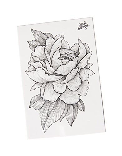 TattooYou Peony Temporary Tattoo for Women - Finest Quality Grayscale Temporary Peony Tattoo - Hand Drawn Design by Sasha Masiuk - 3 by 4.5 Inches