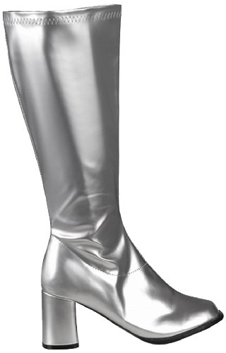 Boland 46283 - Stiefel Retro, silber, Größe 39, langer Schaft, Synthetik, Blockabsatz 8 cm, Reisverschluss, Spacy, Schlager, cooler Look, Karneval, Halloween, Fasching, Mottoparty, Theater, Accessoire